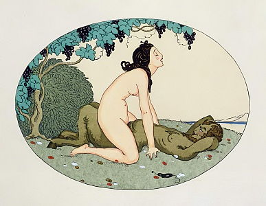 Satyr and Nymph, illustration from The Pleasures of Eros, 1917 (pen en inkt, wc)