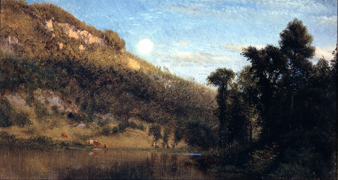 Berkshire Foothills, Full Moon Over Meadowbrook door Aaron Draper Shattuck