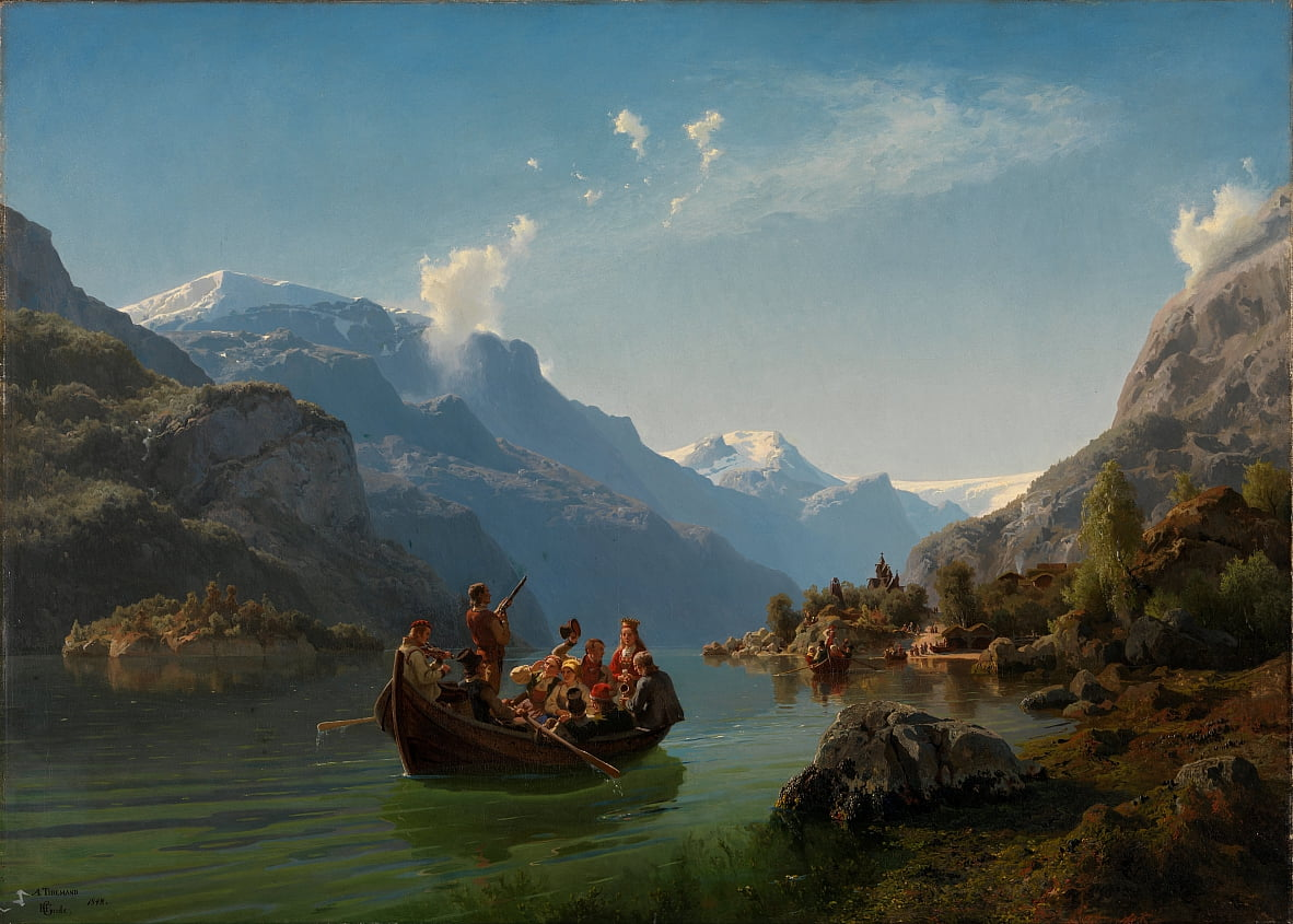 Bruidsreis in Hardanger door Adolph Tidemand