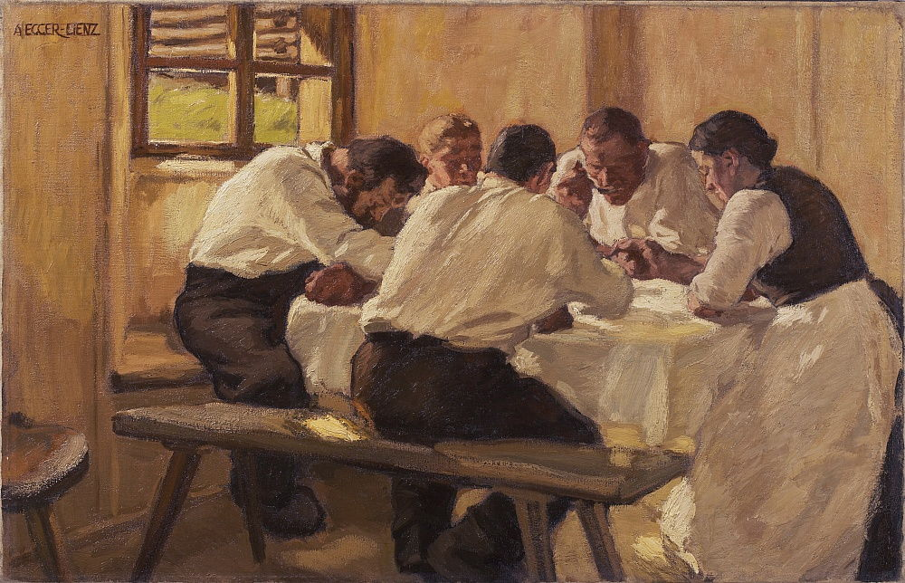 Lunch The Soup, Versie II, 1910 door Albin Egger Lienz