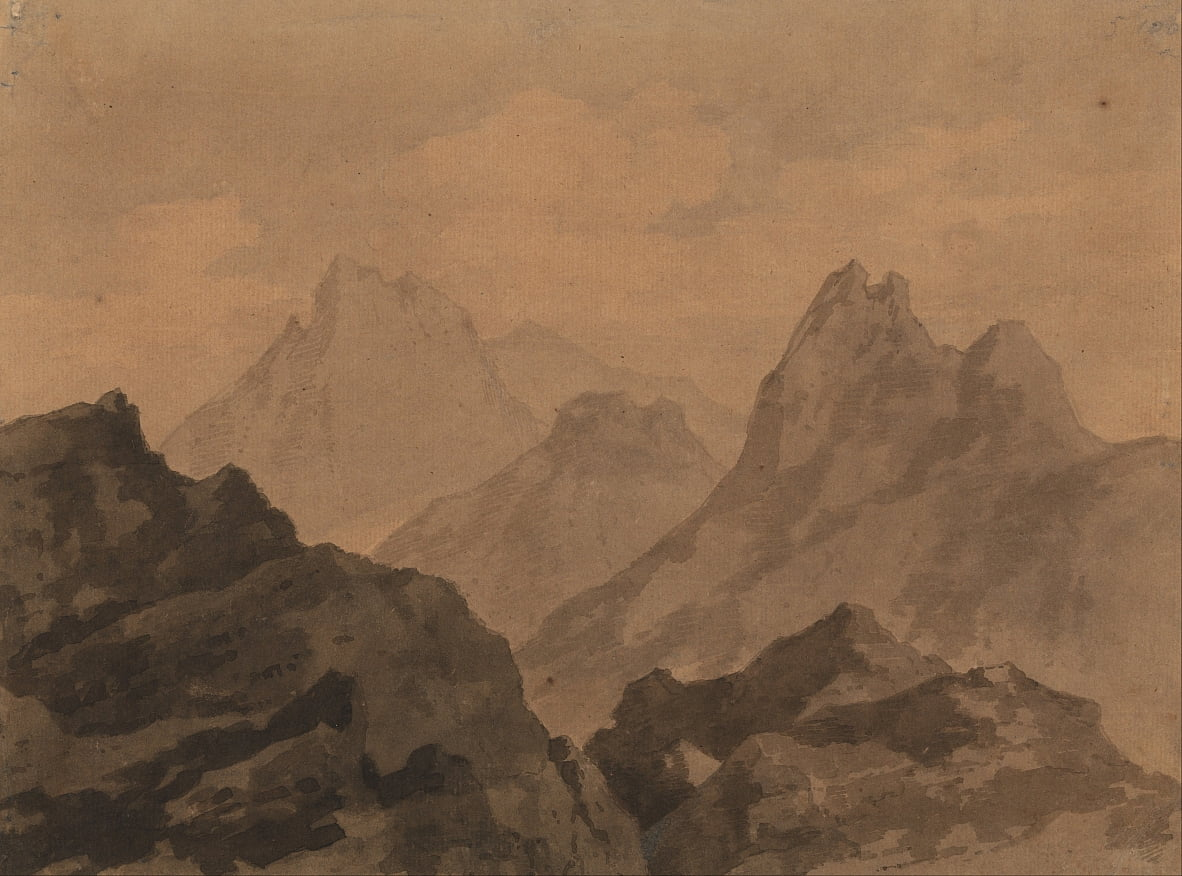 Mountain Tops Mountain Study door Alexander Cozens