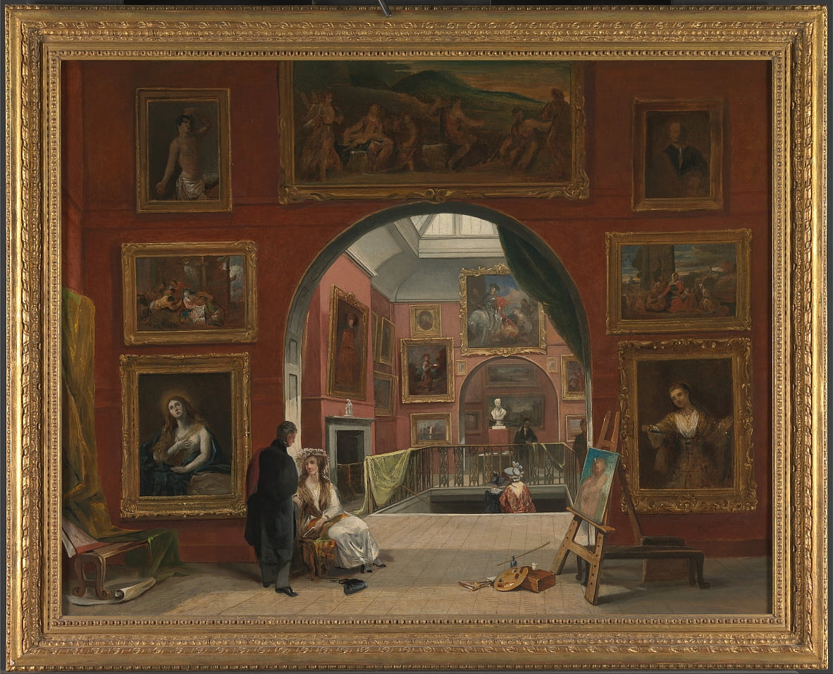 Interieur van de British Institution Old Master Exhibition, zomer 1832 door Alfred Woolmer