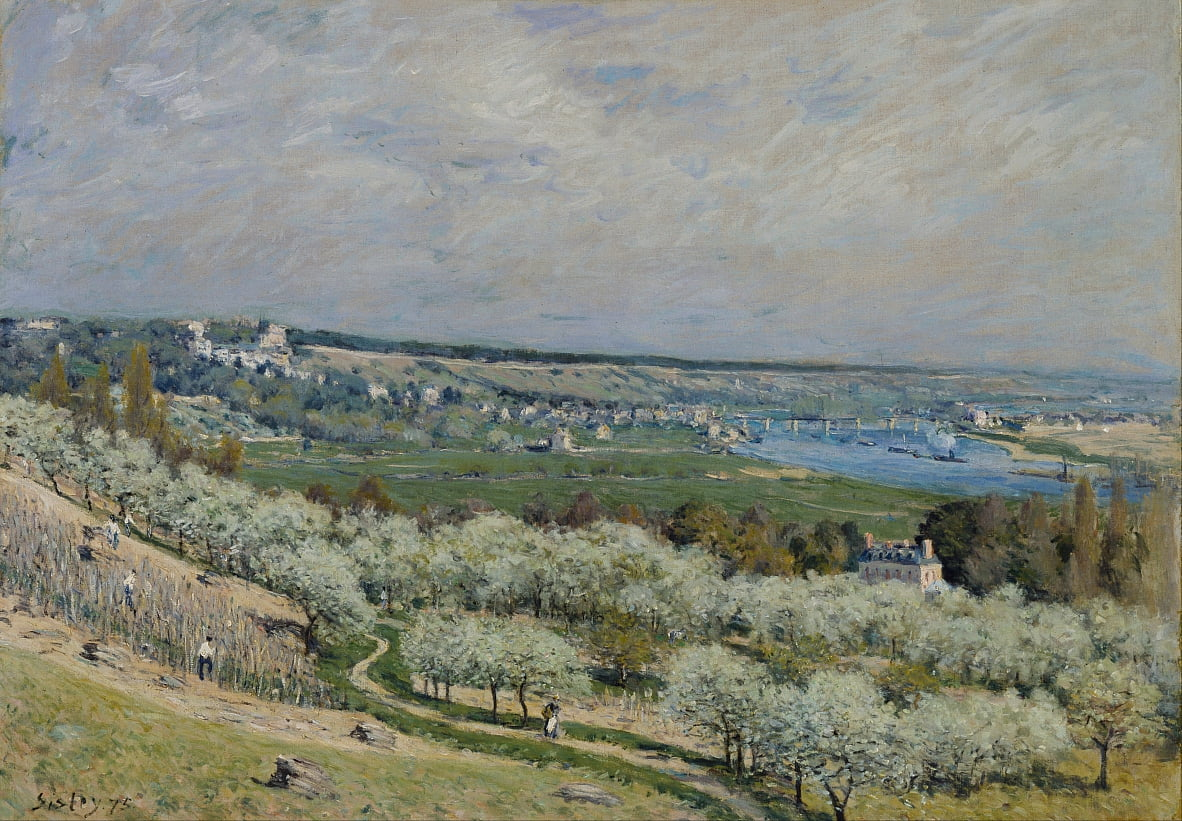 Het terras in Saint-Germain, lente door Alfred Sisley