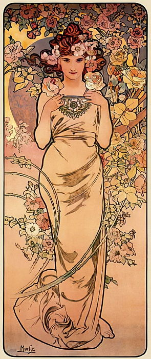Rose, uit de prentenserie The Four Flowers, 1897 door Alphonse Mucha
