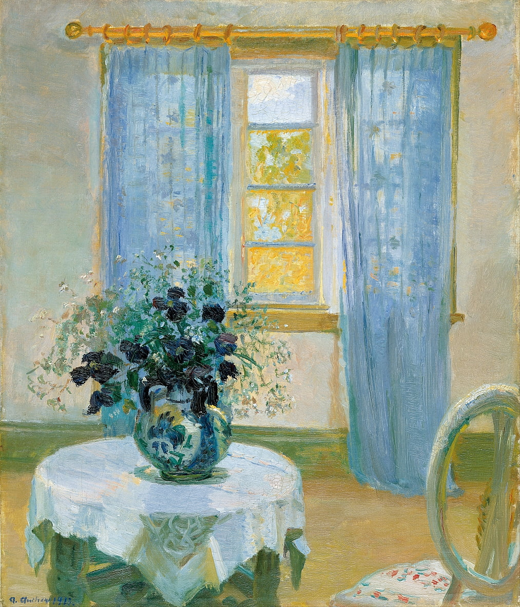 Interieur met clematis door Anna Ancher