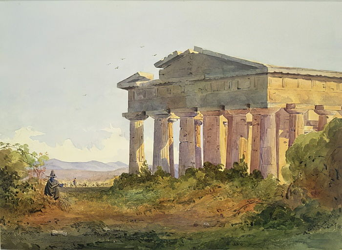 Landschap in Paestum door Arthur Glennie