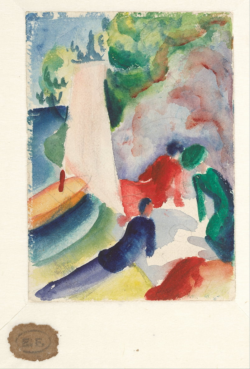 Picnic on the Beach (Picnic after Sailing), 1913 door August Macke