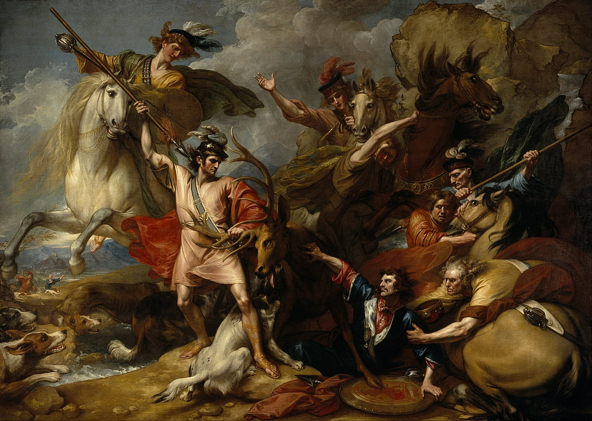 Alexander III van Schotland gered uit de woede van een hert door de onverschrokkenheid van Colin Fitzgerald (The Death of the Stag) door Benjamin West
