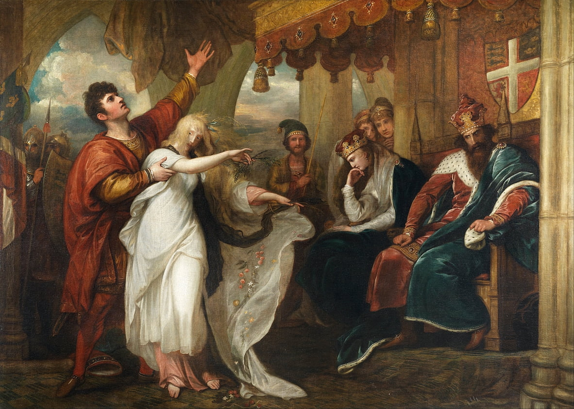Hamlet-Act IV, Scene V (Ophelia Before the King and Queen) door Benjamin West