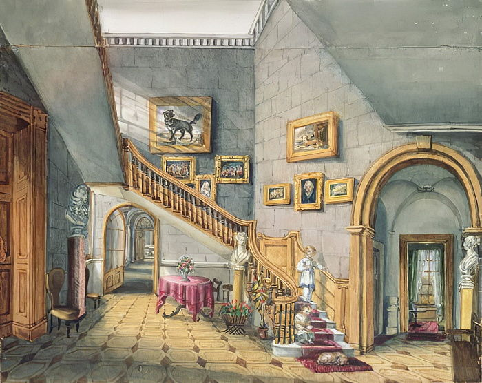 The Staircase, Strood Park, f26 uit An Album of Interiors, 1843 door Charlotte Bosanquet