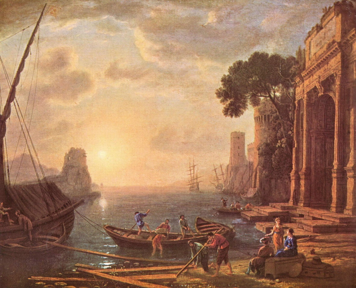 Haven bij zonsondergang door Claude Lorrain