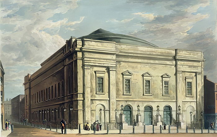 Theatre Royal, Drury Lane, in Londen, ontworpen door Benjamin Wyatt in 1812, 1826 door Daniel Havell