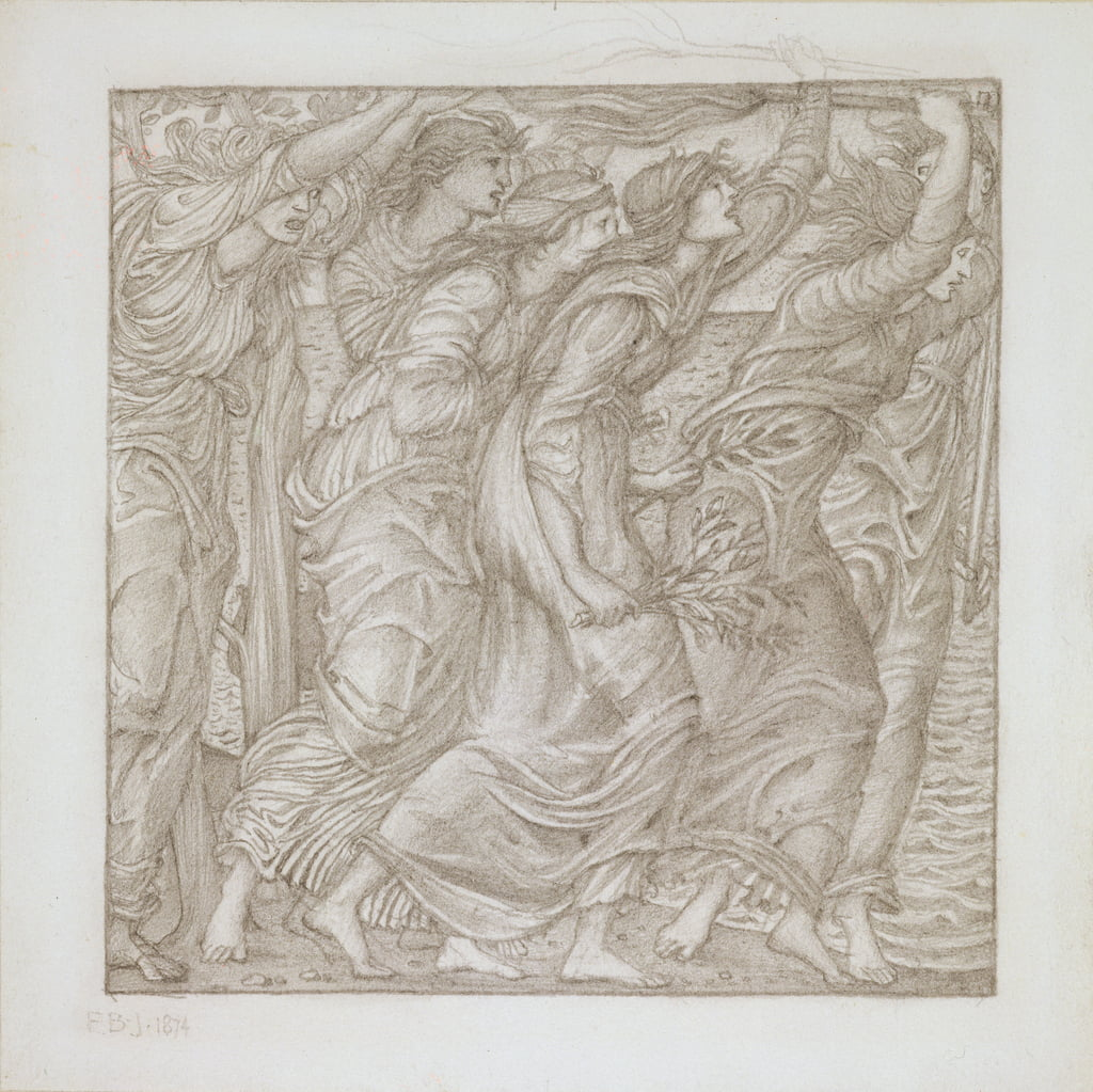 No.1183-5 The Burning of the Ships, illustratie voor Vergilius 'Aeneid', 1874 (potlood) door Edward Burne Jones