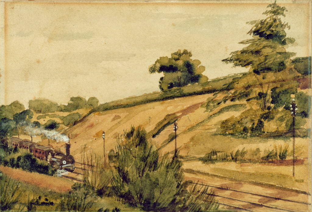 Landschap met trein, 1854 (wc en potlood op papier) door Edward W. Fitch