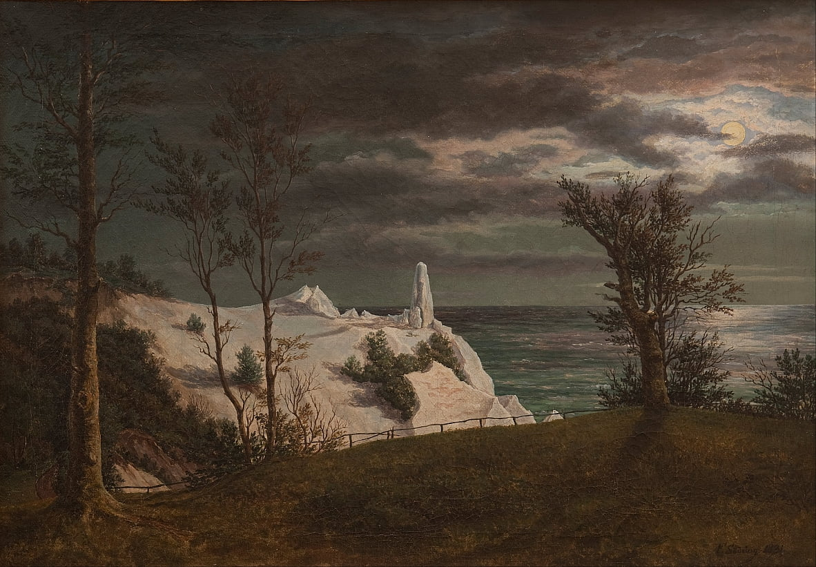 The Summer Spire on the Chalk Cliffs of the Island Møn. Maanlicht door F. Sødring