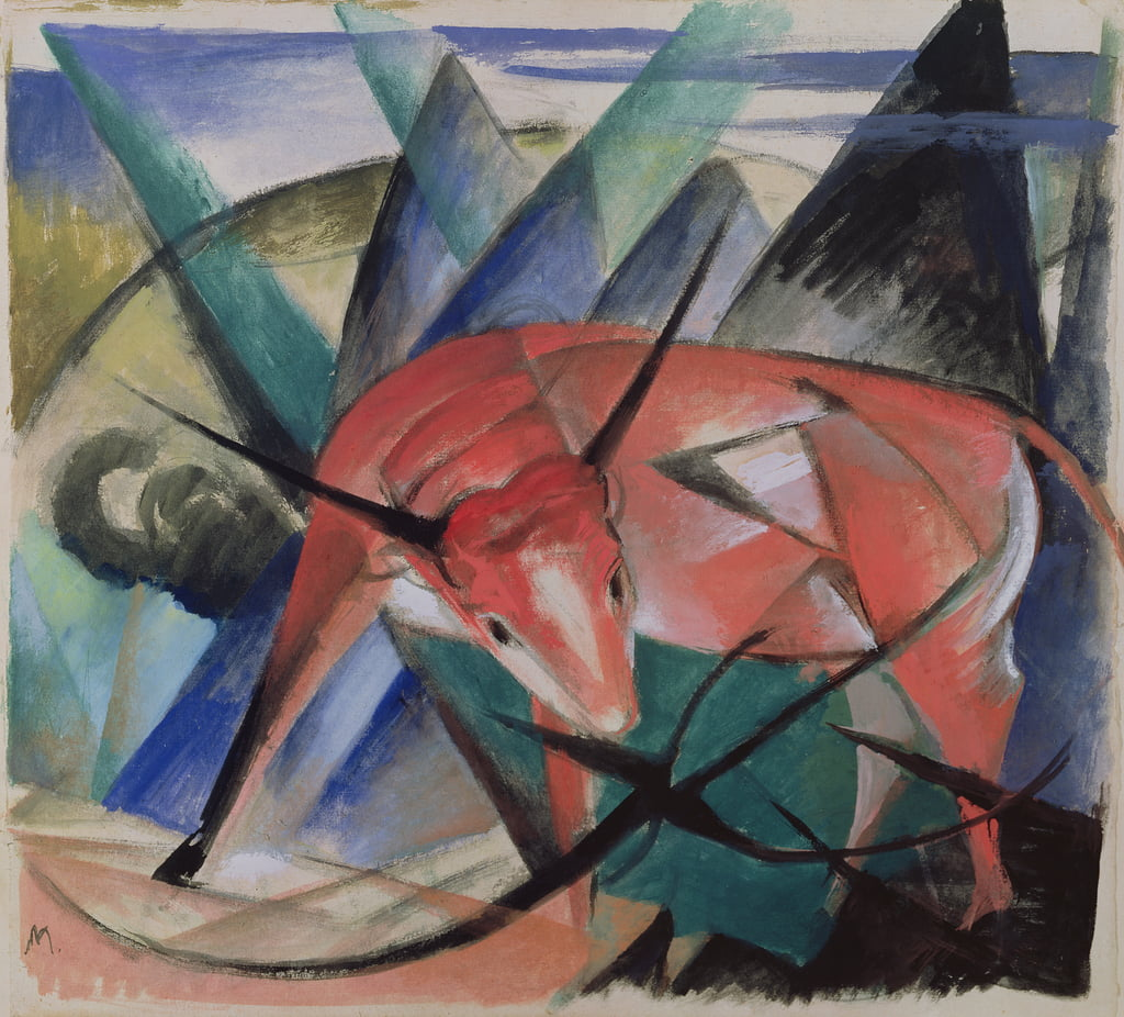 rode stier door Franz Marc
