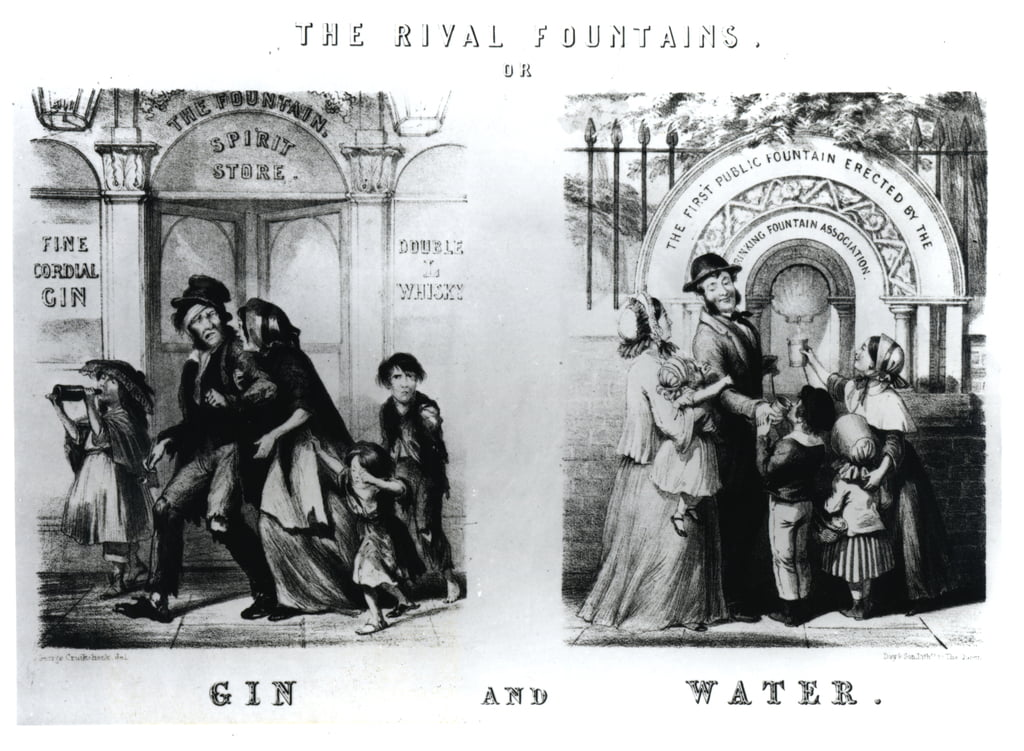 The Rival Fountains of Gin and Water door George Cruikshank
