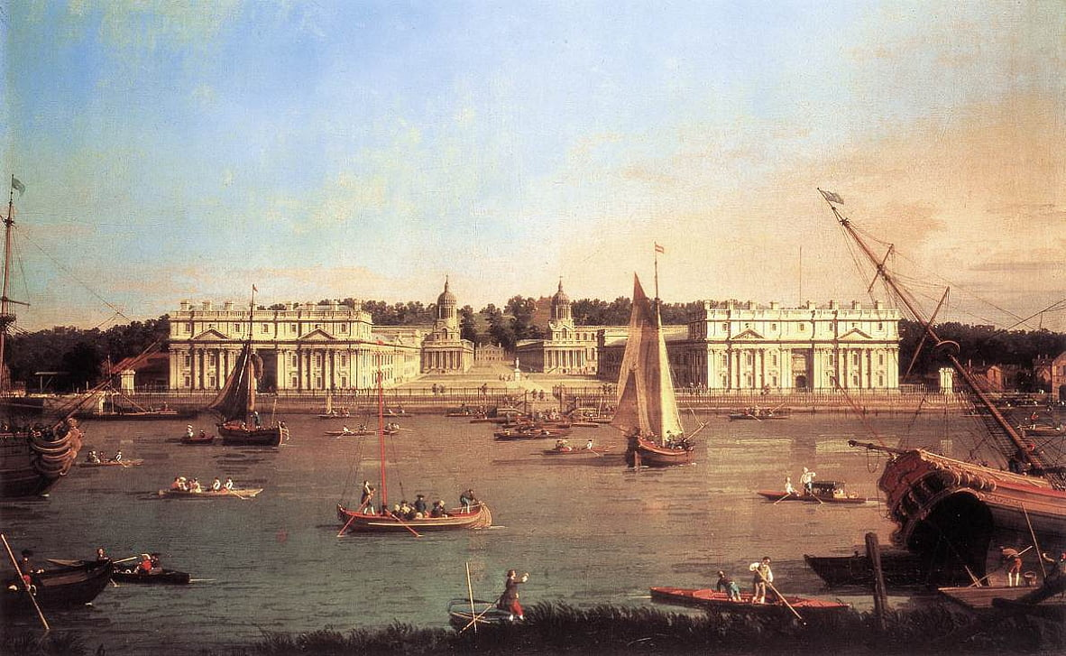 Greenwich Hospital van de North Bank of the Thames door Giovanni Antonio Canal