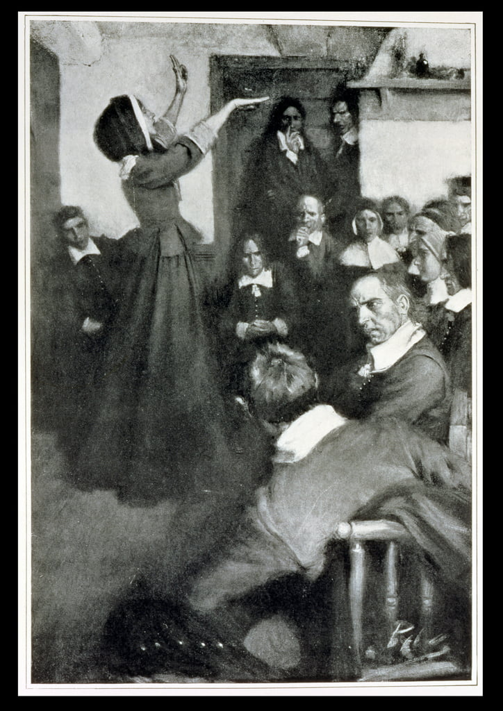 Anne Hutchinson Predikt in haar huis in Boston, 1637, illustratie uit &39;Colonies and Nation&39; door Woodrow Wilson, pub. in Harper&39;s Magazine, 1901 door Howard Pyle