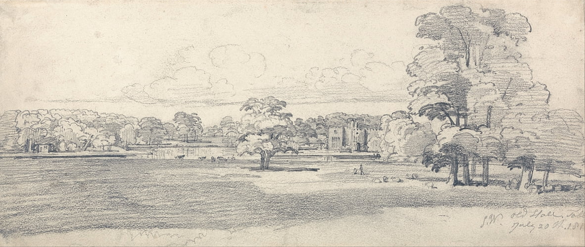 The Old Hall, Tabley, omgeven door Parkland, 20 juli 1814 (1819) door James Ward