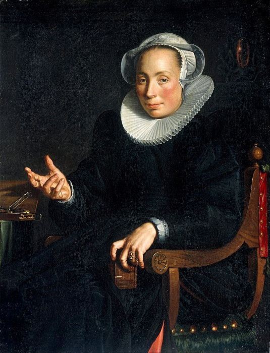 Portrait of Christina Wtewael van Halen 1568-1629, 1601 door Joachim Wtewael or Utewael