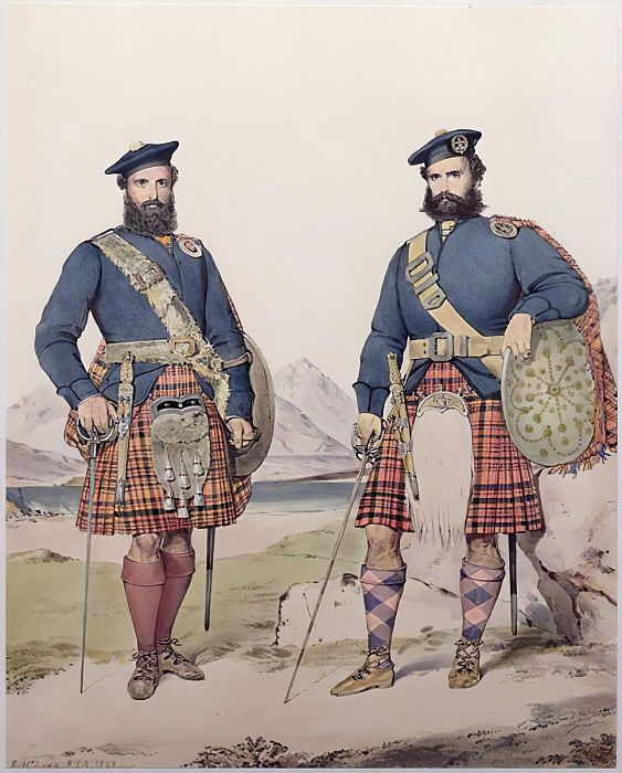 Twee mannen in Highland-jurk, gegraveerd door Vincent Brooks, 1868 door Kenneth Macleay