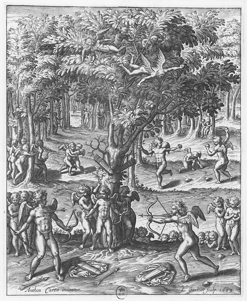 &39;Cupidons&39;, bord van &39;The Pictures of Tableaux de Platte Painting of the Two Greek Sofist Philostrates&39;, door Blaise de Vigenère, 1615 door Leonard Gaultier