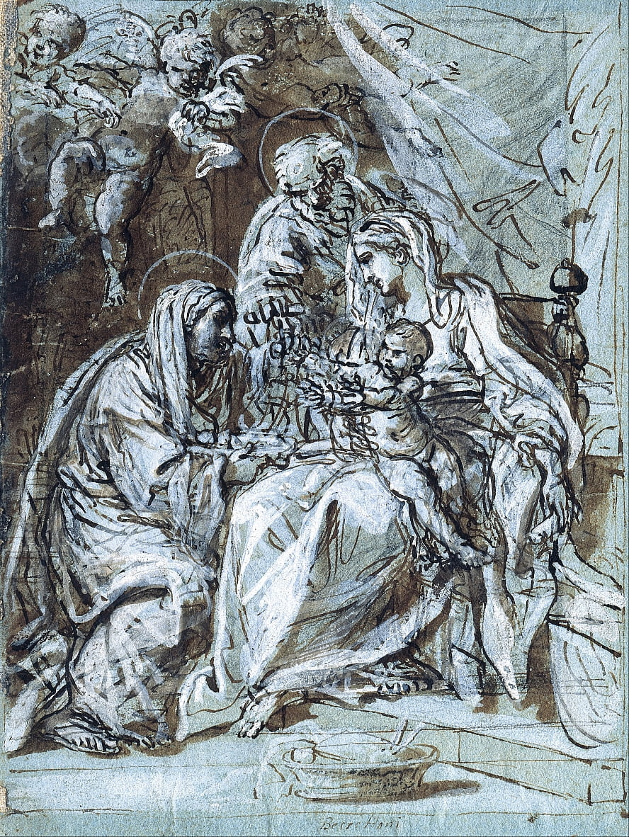 The Holy Family and Saint Ann, Reading a Psalm door Niccolò Berrettoni
