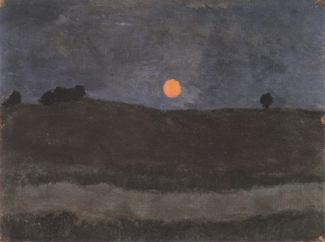 Maan over landschap door Paula Modersohn Becker