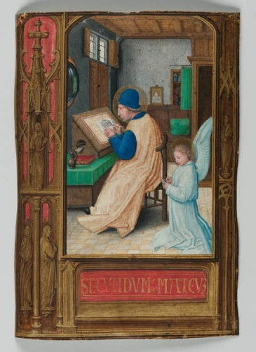 St. Matthew Writing with the Angel, 1521 (tempera op perkament) door Simon Bening