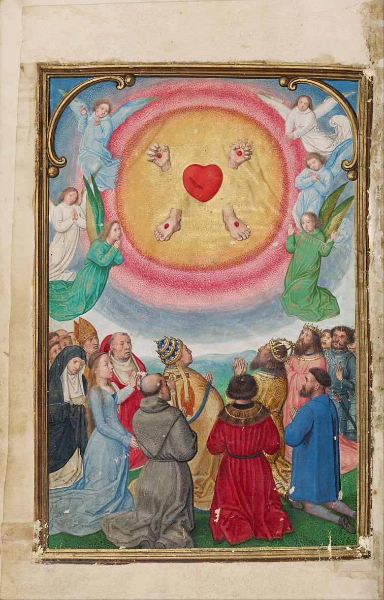 The Worship of the Five Wounds door Simon Bening