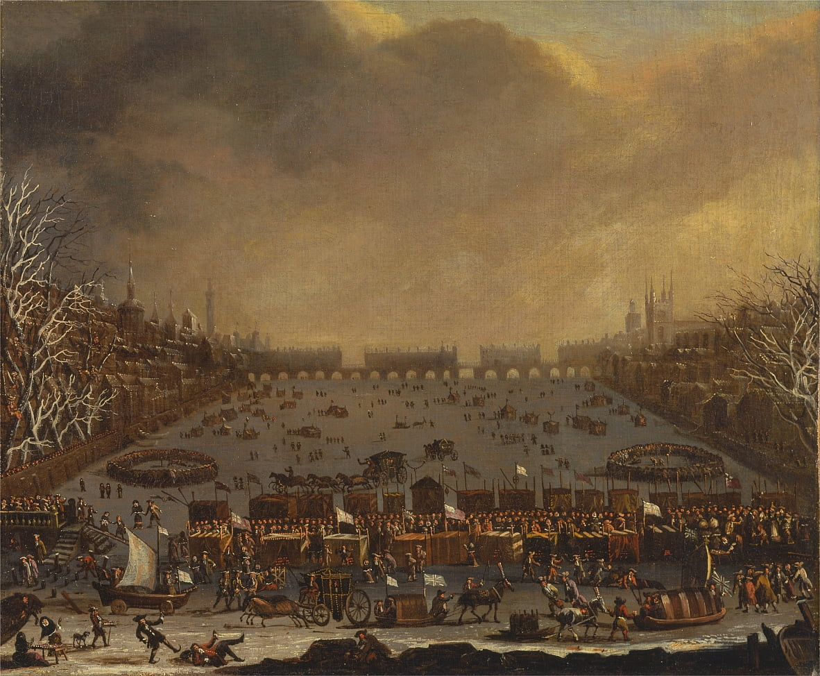 Frost Fair on the Thames, met Old London Bridge in de verte door Unbekannt Unbekannt