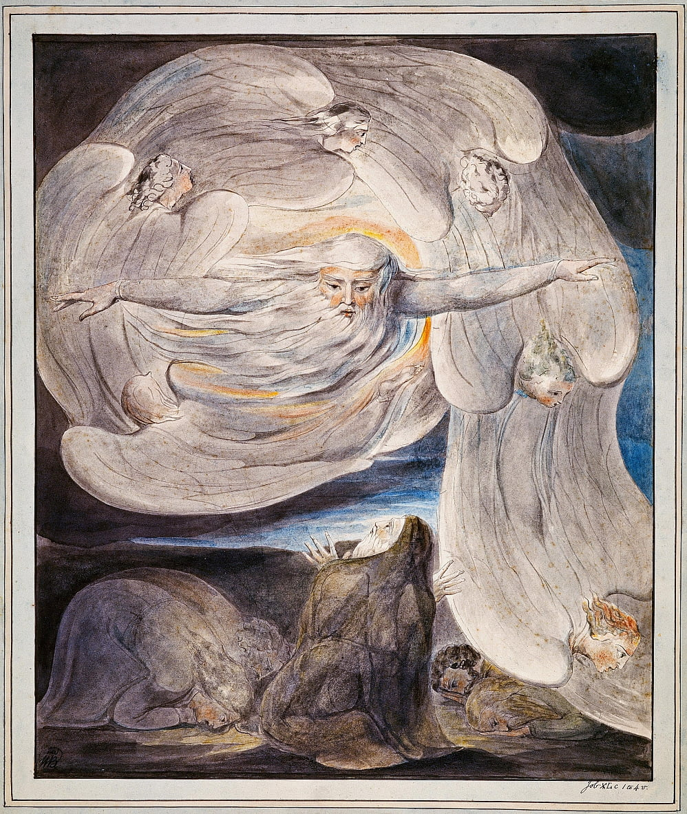 Job die zijn veronderstelling aan God belijdt door William Blake