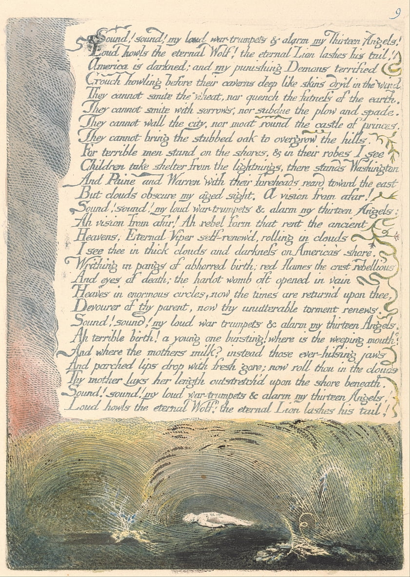 Amerika. A Prophecy, Plate 11, door William Blake