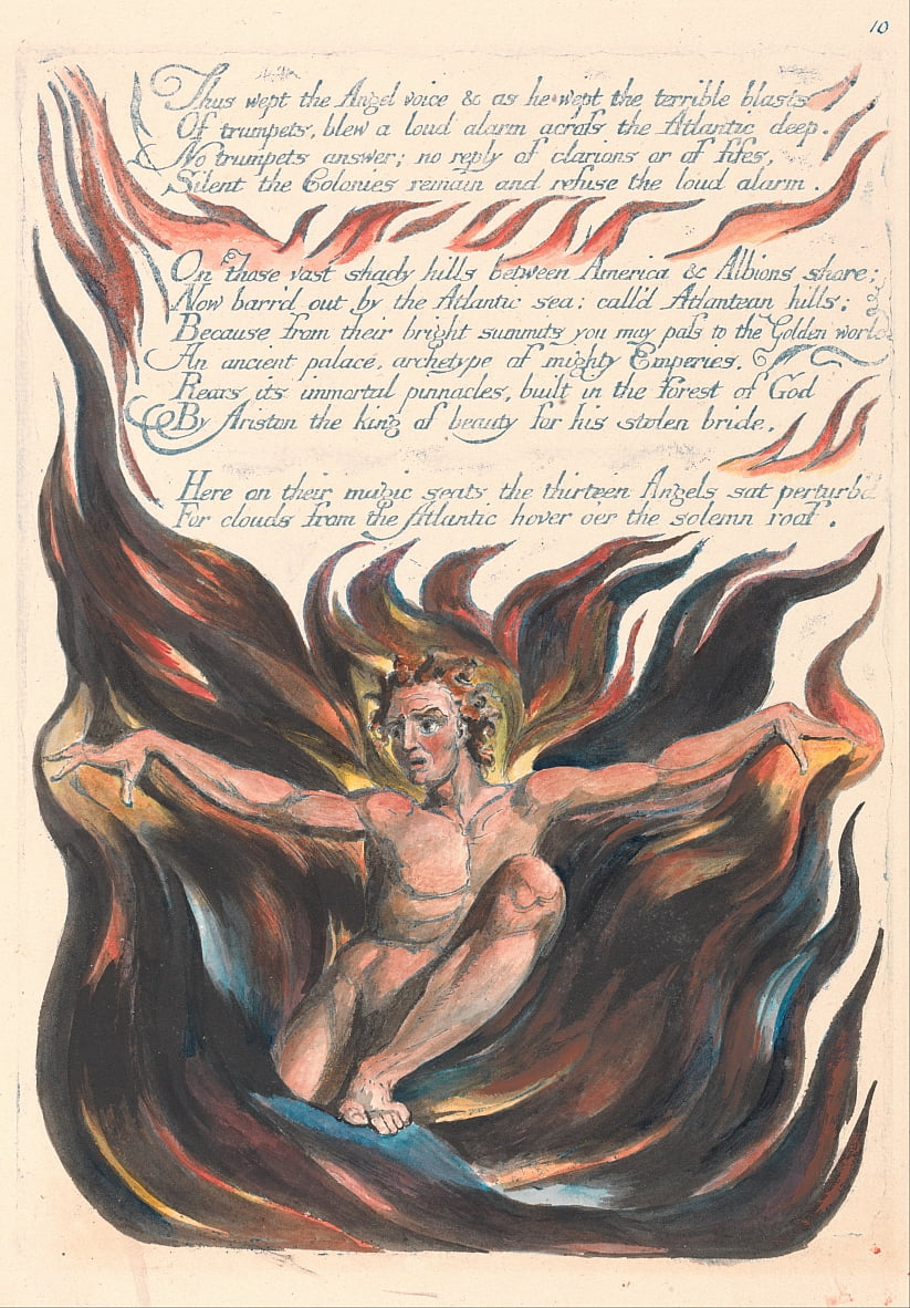 Amerika. A Prophecy, Plate 12, Wept The Angel Voice .... door William Blake