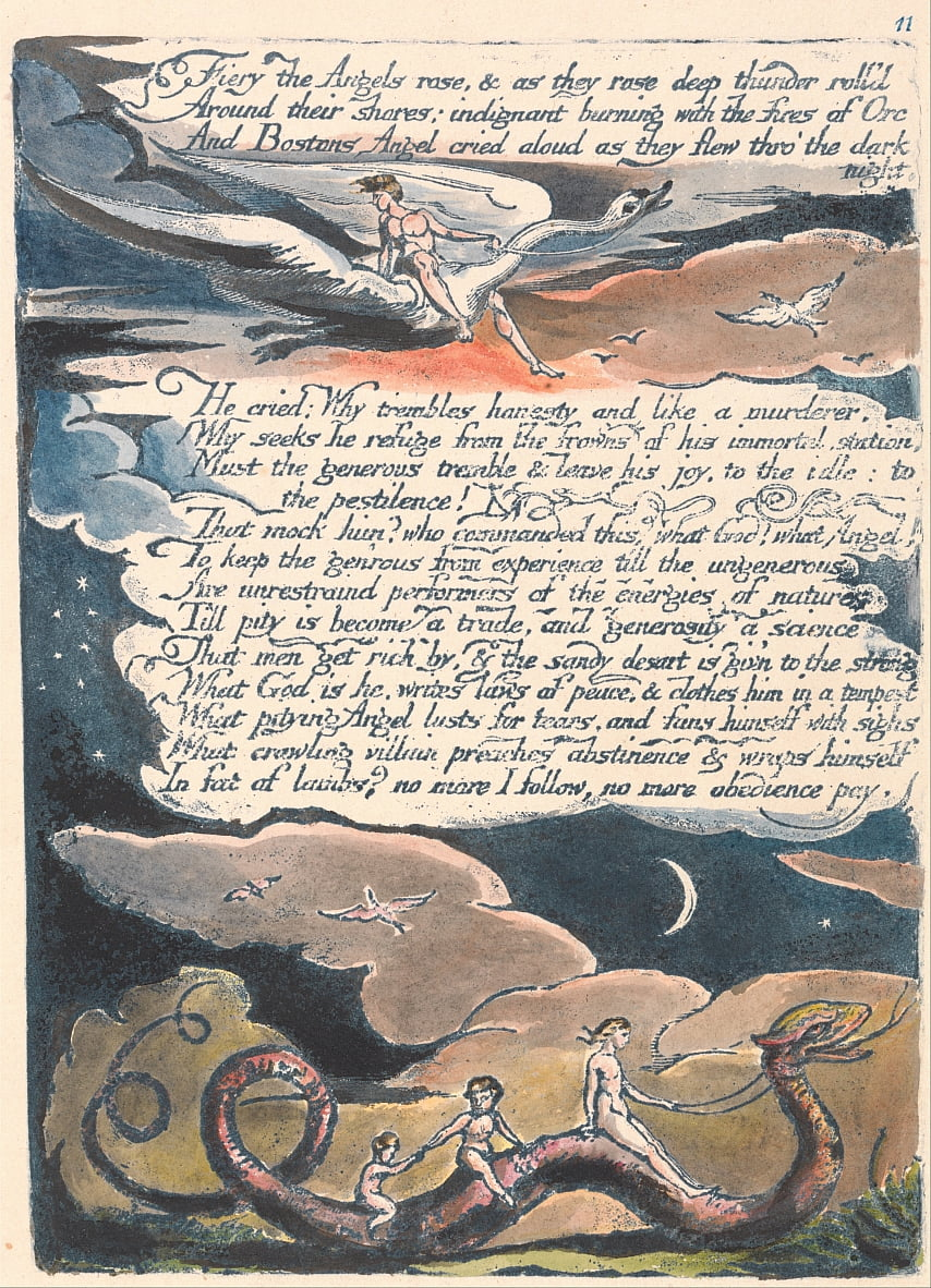 Amerika. A Prophecy, Plate 13, Fiery the Angels Rose .... door William Blake