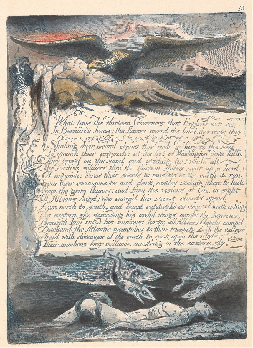 Amerika. A Prophecy, Plate 15, What Time the Thirteen Governors .... door William Blake