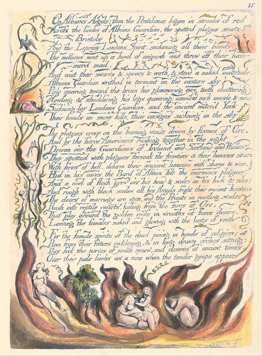 Amerika. A Prophecy, Plate 17, On Albions Angels .... door William Blake