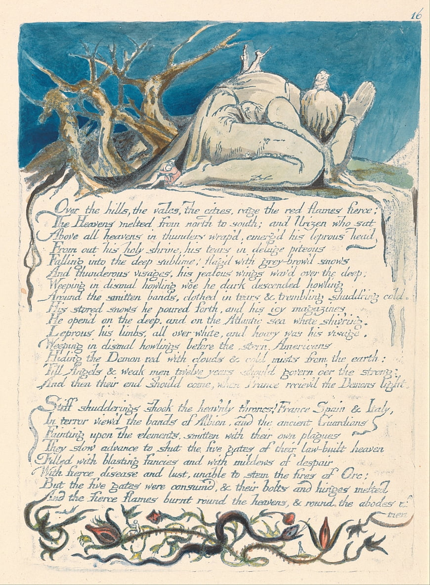 Amerika. A Prophecy, Plate 18, Over the Hills .... door William Blake