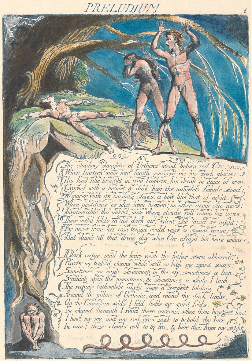 Amerika. Een profetie, plaat 3, Preludium door William Blake