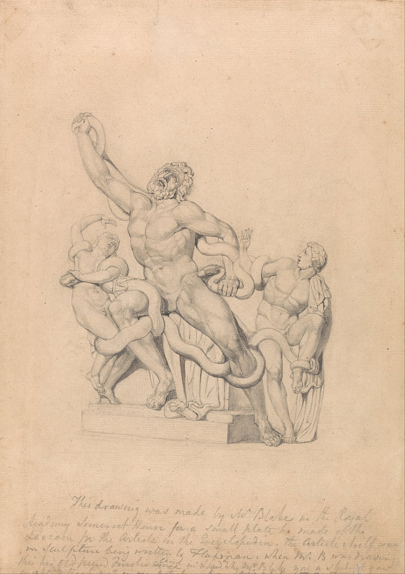Kopie van de Laocoön, voor Reess Cyclopædia door William Blake