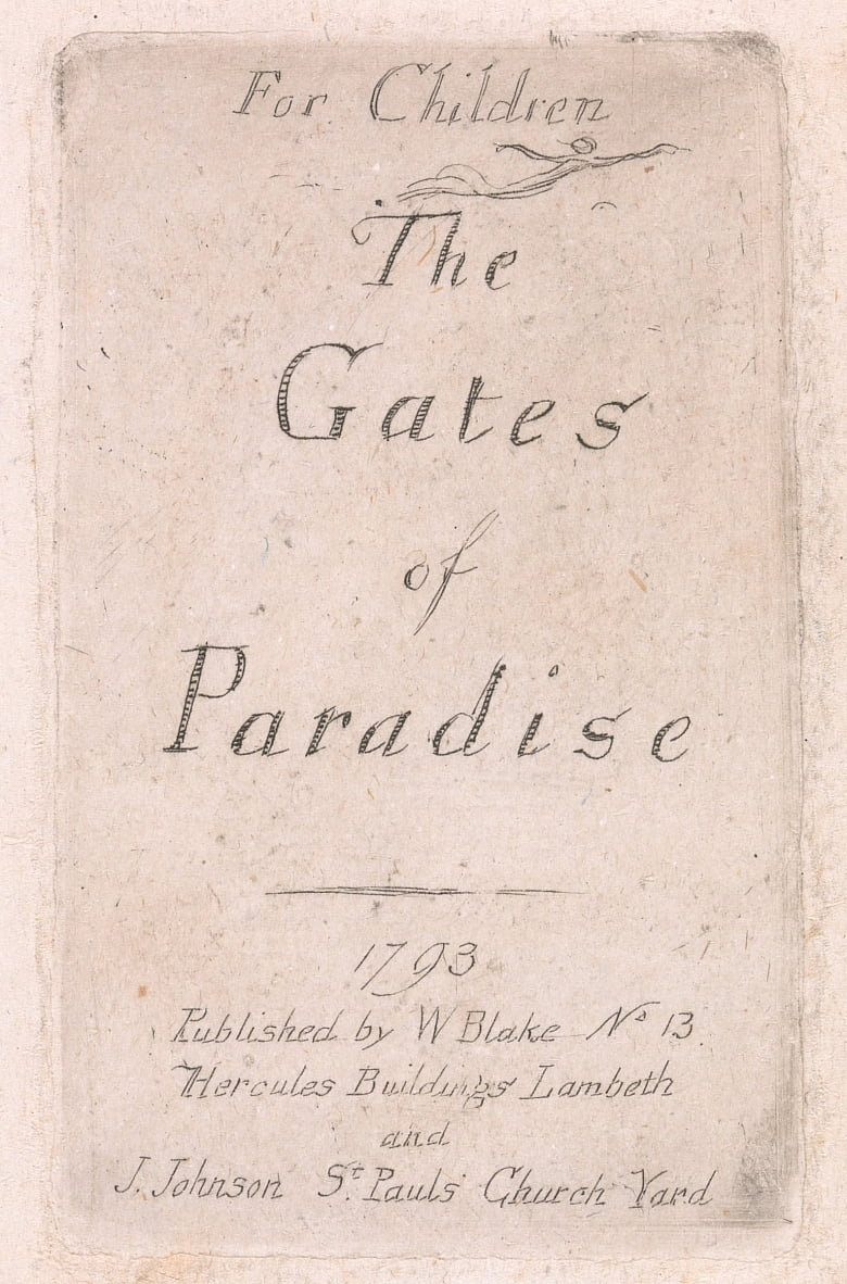 Voor kinderen. The Gates of Paradise, Plate 2, Title Page door William Blake