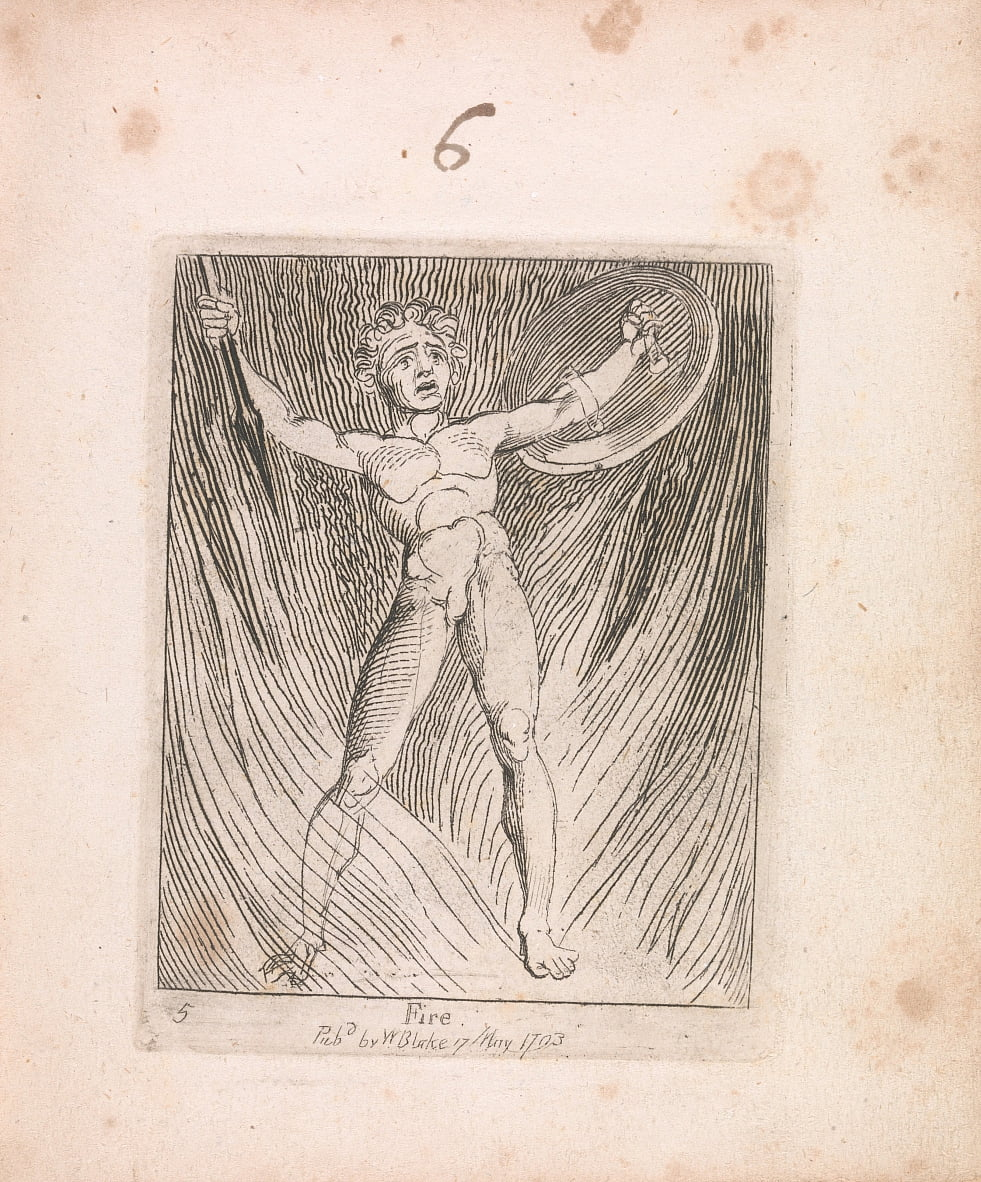Voor kinderen. The Gates of Paradise, Plate 7, Fire door William Blake