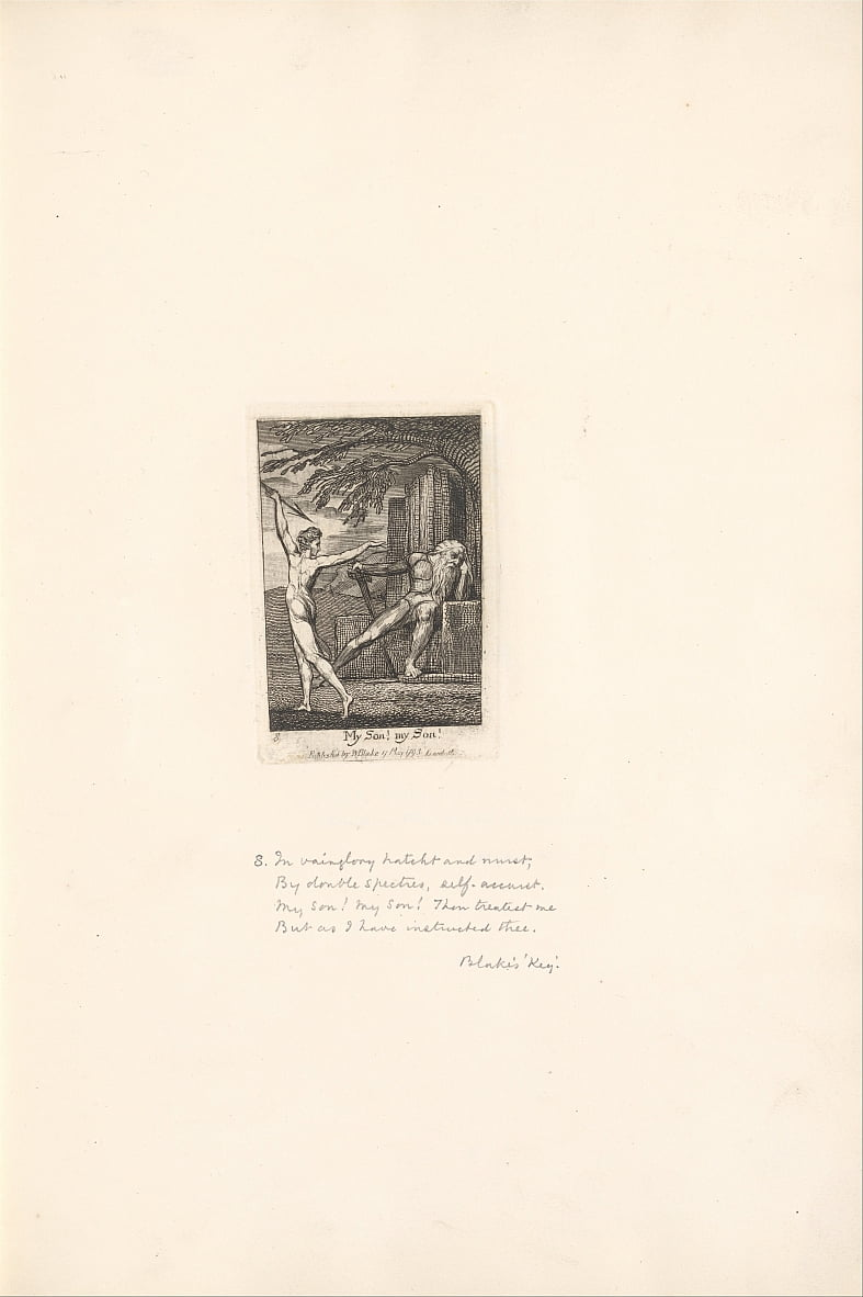 Voor de geslachten - The Gates of Paradise, Plate 10, My son! mijn zoon! door William Blake
