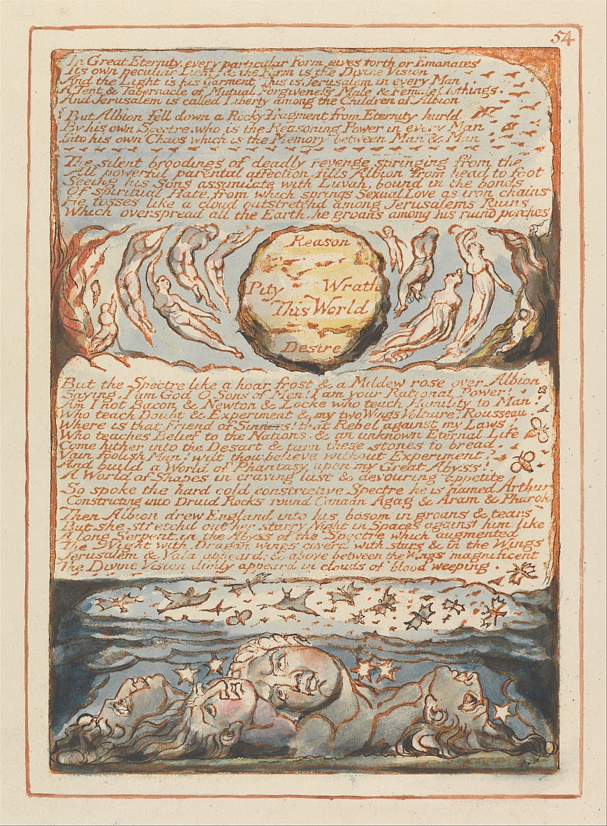 Jeruzalem, bord 54, in de grote eeuwigheid .... door William Blake