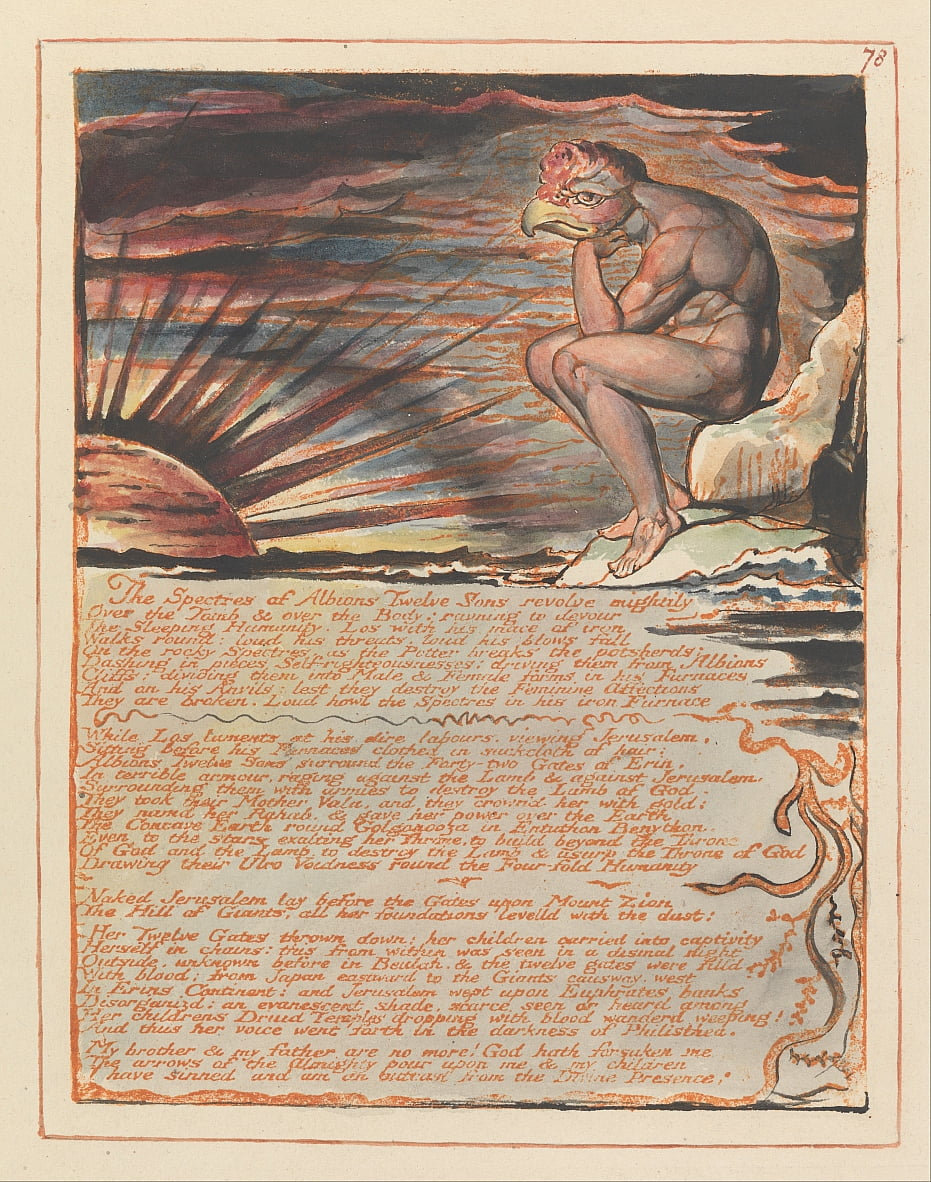 Jerusalem, Plate 78, The Spectres of ... door William Blake