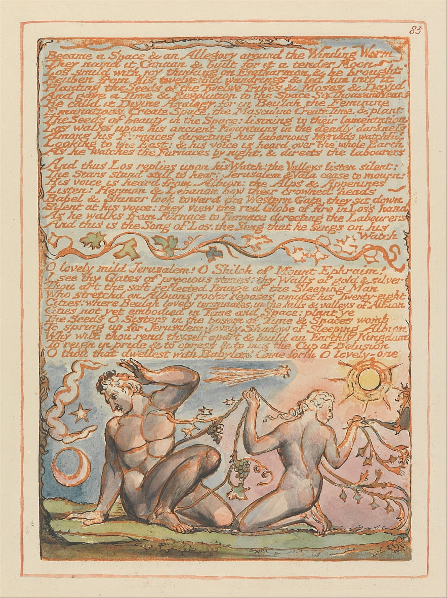 Jeruzalem, plaat 85, werd een ruimte en een allegorie ... door William Blake