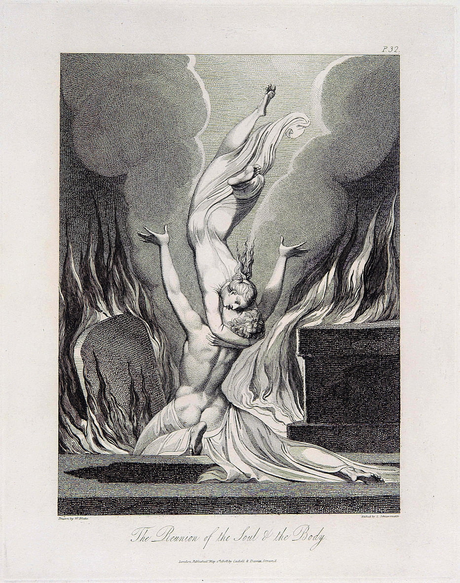 Robert Blair, The Grave, object 13 (Bentley 435-12) The Reunion of the Soul & the Body door William Blake