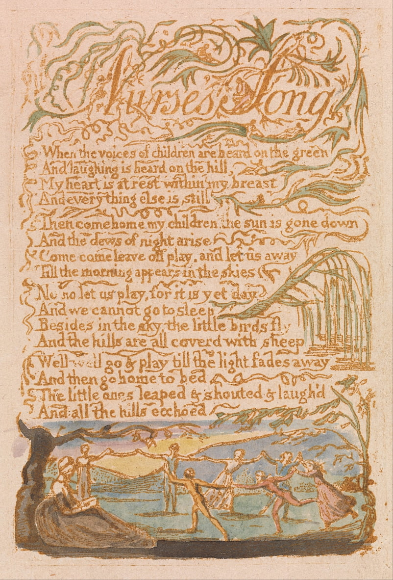 Songs of Innocence, Plate 22, Nurses Song (Bentley 38) door William Blake