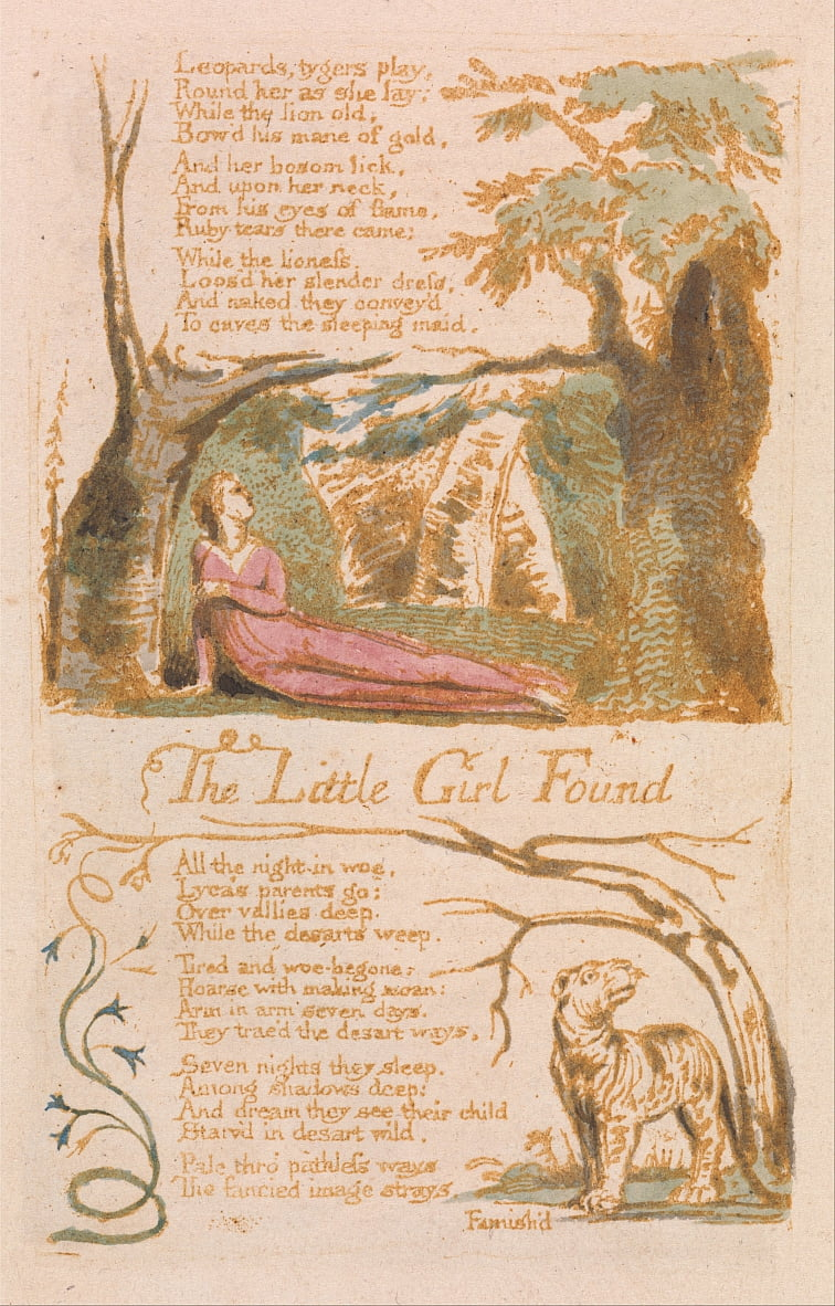 Songs of Innocence, Plate 6, The Little Girl Found (Bentley 35) door William Blake